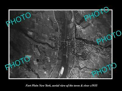 OLD LARGE HISTORIC PHOTO OF FORT PLAIN NEW YORK, AERIAL OF TOWN & RIVER c1935