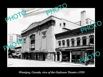 OLD LARGE HISTORIC PHOTO OF WINNIPEG CANADA, VIEW OF THE ORPHEUM THEATRE c1920