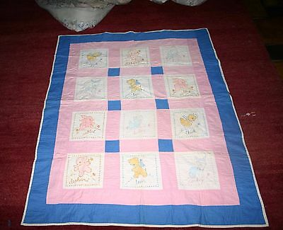 Vintage Baby Quilt Embroidered Animals  Hand Quilted Elephants Chicks Bunnies