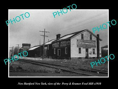 OLD LARGE HISTORIC PHOTO OF NEW HARTFORD NEW YORK, THE P&K FEED MILL c1910