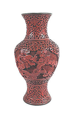 China Antique Chinese Carved Cinnabar Lacquer Dragons Vase On Blue Enamel Body