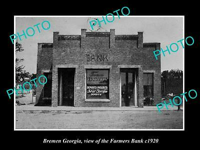 OLD LARGE HISTORIC PHOTO BREMEN GEORGIA, VIEW OF THE FARMERS BANK c1920