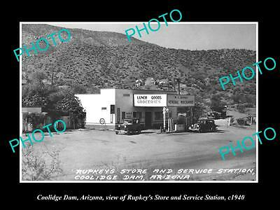 OLD LARGE HISTORIC PHOTO OF COOLIDGE DAM ARIZONA, STORE & SERVICE STATION c1940