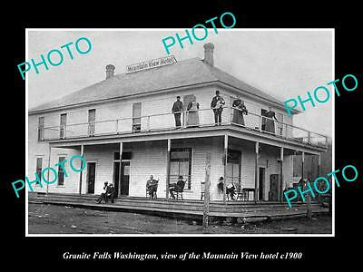 OLD LARGE HISTORIC PHOTO OF GRANITE FALLS WASHINGTON, MOUNTAIN VIEW HOTEL c1900