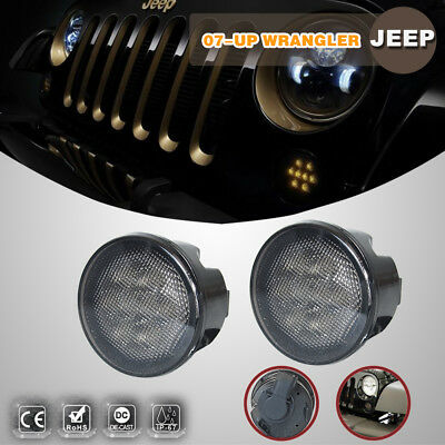 2X Front Bumper Amber Turn Signal Led Light Smoke Lens for 07-17 Jeep Wrangler J