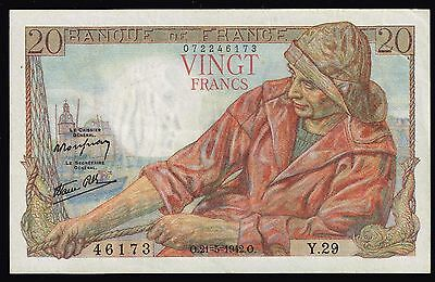 France Currency  - 1942  20  Banknote