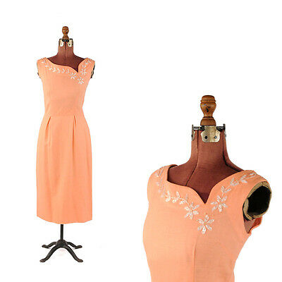 Vintage 50s 60s Peach Linen Floral Beaded Summer Cocktail Garden Party Dress M