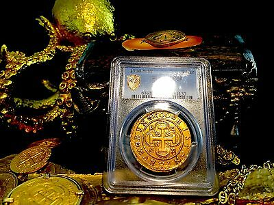 Spain 1700 Gold 8 Escudos Ngc 50 Rare Only 2 Known! Cob Doubloon Charles Ii Coin
