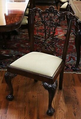 Incredible Set 10 Carved Mahogany Irish Chippendale Dining Chairs MINT