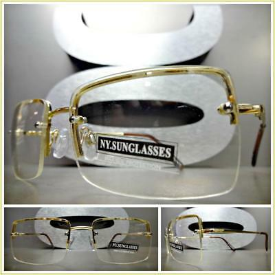 Men's CLASSY CONTEMPORARY MODERN Style Clear Lens EYE GLASSES Gold Fashion Frame