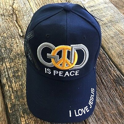BLUE CHRISTIAN BALL CAP God Is PEACE Adjustable Religious JESUS HAT NEW-W