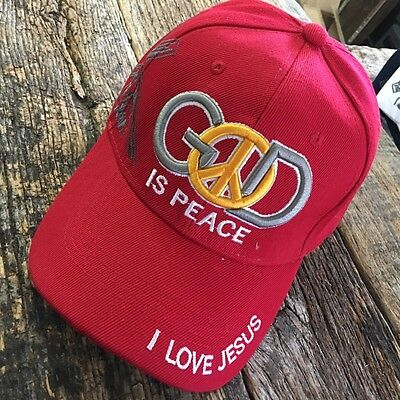 RED CHRISTIAN BALL CAP God Is PEACE Adjustable Religious JESUS HAT NEW -W
