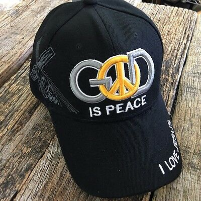 BLACK CHRISTIAN BALL CAP God Is PEACE Adjustable Religious HAT NEW -W