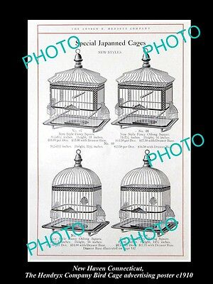 OLD LARGE HISTORIC PHOTO NEW HAVEN CONNECTICUT, THE BIRD CAGE Co POSTER c1910 1