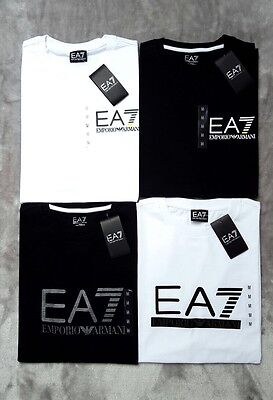 Emporio Armani Ea7 Mens New Short Sleeve Crew Neck T Shirt Black White S M L Xl