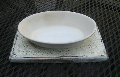 Antique Homer Laughlin  Ironstone Soap Dish With Primitive Look White Wood Base