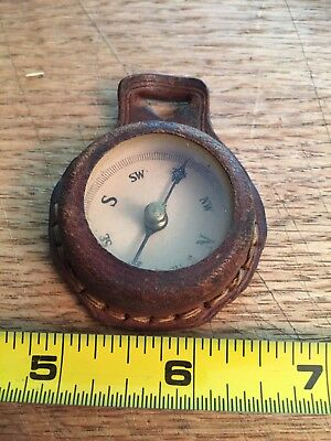 Vintage Leather Covered Compass