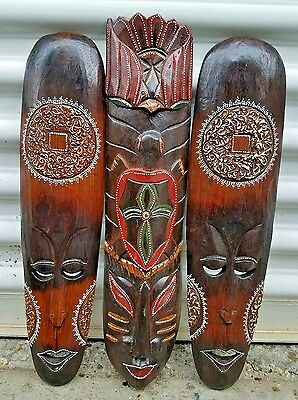 """Set Of (3) 20"""" Intricate Hand Chiseled Wood African Style Home Decor Masks!"""
