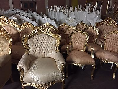 New French Carved Shabby Chic Throne Cream Silk Material Stunning