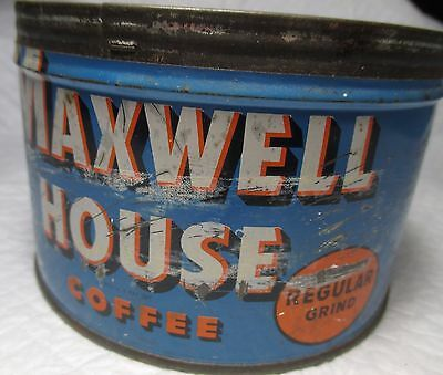 Vintage Maxwell House Coffee EMPTY tin Can no lid 1 LB primitive country kitchen