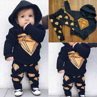 2PCS Toddler Newborn Baby Boy Hooded Tops Pants Home Outfits Set Clothes