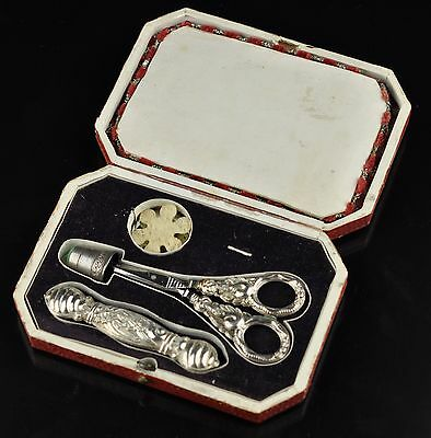 19th Century Antique German silver Sewing Etui Set - Silver Scissors thimble