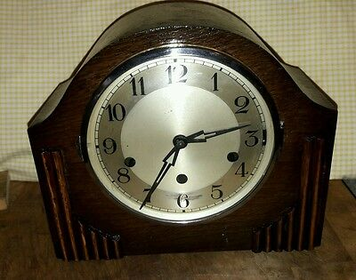 Westminster Chime Mantle Clock With Pendulum & Key In E.w.o 6Ha