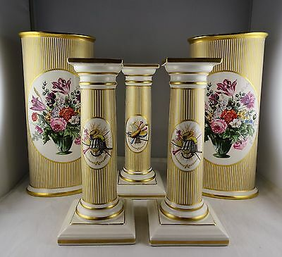 5 Pcs Mottahedeh China -  2 Floral Vases + 3 Candlesticks w/ Musical Theme Gold