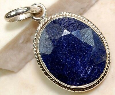 6CT Earth Mined Sapphire 925 Solid  Sterling Silver Pendant Jewelry,SS9-2