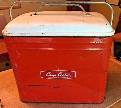 Vintage Aluminum Kwik Way Camp Cooler Ice Chest Red with White top very cool