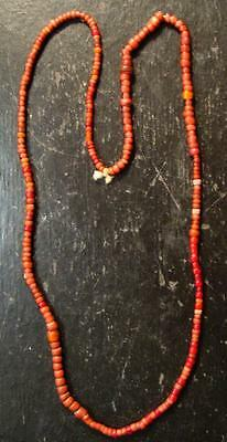 "STRAND OF Original Crow Indian Red ""White Heart"" Trade Beads Venetian Pre-1800"