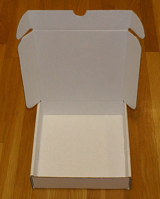 25 - 8 x 8 x 2 White Corrugated Front Tab Lock Shipping Mailer Packing Box Boxes