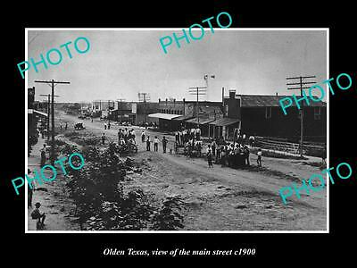OLD LARGE HISTORIC PHOTO OF OLDEN TEXAS, VIEW OF MAIN STREET & STORES c1900