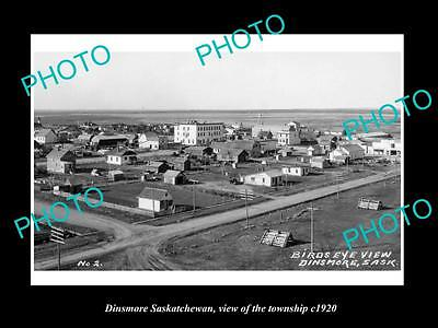 OLD LARGE HISTORIC PHOTO OF DINSMORE SASKATCHEWAN, VIEW OF THE TOWNSHIP c1920