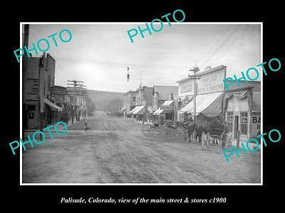 OLD LARGE HISTORIC PHOTO OF PALISADE COLORADO, THE MAIN STREET & STORES c1900