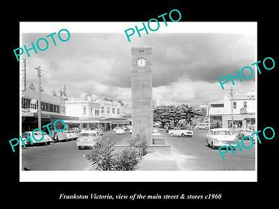 OLD LARGE HISTORIC PHOTO OF FRANKSTON VICTORIA, THE MAIN St & STORES c1960 1