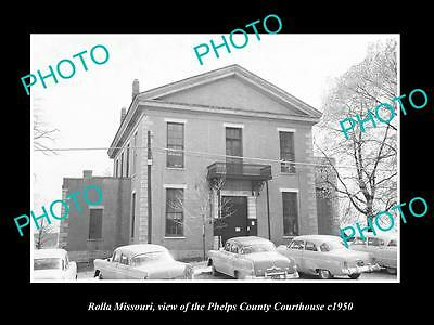 OLD LARGE HISTORIC PHOTO OF ROLLA MISSOURI, THE PHELPS COUNTY COURT HOUSE c1950
