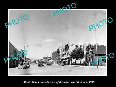 OLD LARGE HISTORIC PHOTO OF MONTE VISTA COLORADO, THE MAIN STREET & STORES c1940
