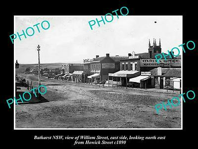 OLD LARGE HISTORIC PHOTO OF BATHURST NSW, VIEW OF WILLIAM STREET & STORES c1890