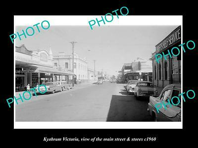 OLD LARGE HISTORIC PHOTO OF KYABRAM VICTORIA, THE MAIN St & STORES c1960 1