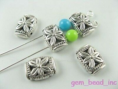 Free Shipping 20pcs Tibetan Silver Flower Double Hole Spacer Beads 10x14mm