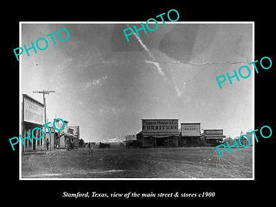 OLD LARGE HISTORIC PHOTO OF STAMFORD TEXAS, VIEW OF MAIN STREET & STORES c1900