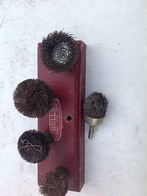 Vintage Rolls Wire Brush Drill Attachments With Stand