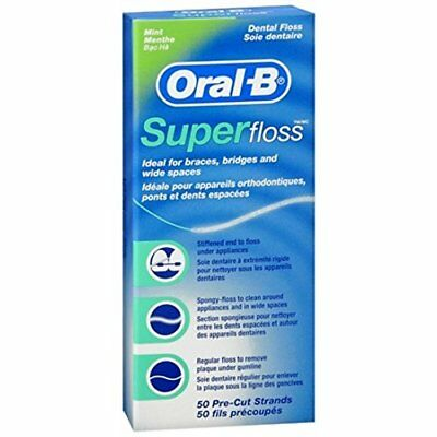 3 Pack Oral B Super Floss Mint Dental Floss Pre Cut Strands 50 Each