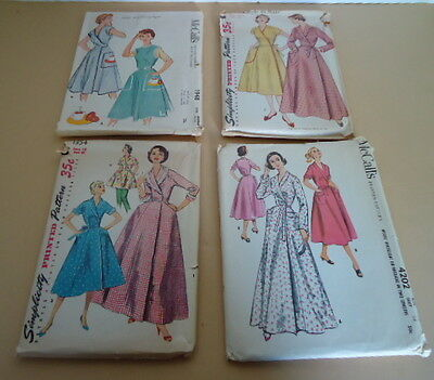 Vintage 1950's McCall's and Simplicity Ladies Apron and House Coat Patterns (4)