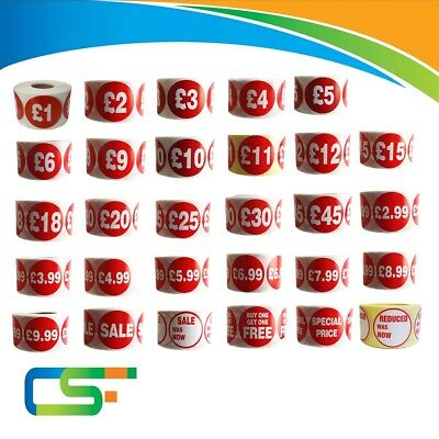 500 x RED PRICE ROLLS LABELS ADHESIVE STICKERS STICKY  LABELS  RETAIL SHOP
