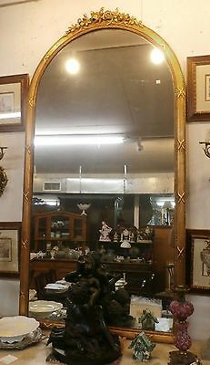 "19th Century French Empire Mirror H 86"" x W 43"" Arched Top w Carved Gilt Frame"