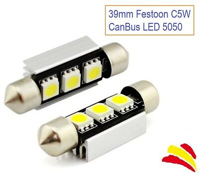 2X Bombillas Coche Festoon C5W 39Mm 3 Led Smd 5050 Matricula