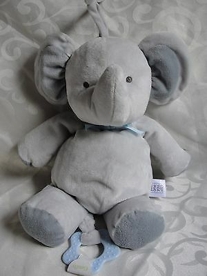 Carter's Just One You Grey Blue Elephant Crib Musical Toy Very Good Condition