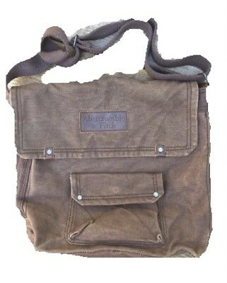 Abercrombie And Fitch Canvas And Leather  Messenger Bag  Unisex Brown Book Bag